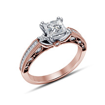 Princess Diamond Rose Gold Plated 925 Sterling Silver Wedding Engagement... - $73.99