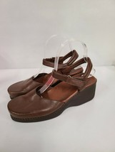 Naturalizer Womens Brown Leather Wedge Sandals Size 8 Adjustable Comfort... - $35.99