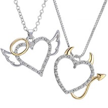 Crystal Angel And Devil Heart Necklaces - Best Friends - Unique - Gift -... - $11.88+