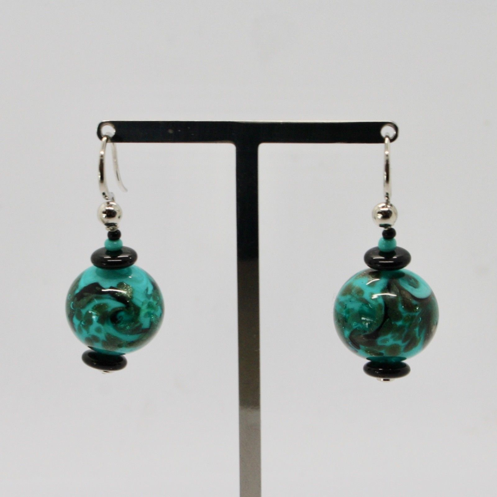 EARRINGS ANTICA MURRINA VENEZIA WITH MURANO GLASS BLACK SILVER GREEN OR592A59