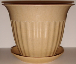 Tan Planter with Matching Saucer ~ Made of Bamboo ~ NEW - $5.00