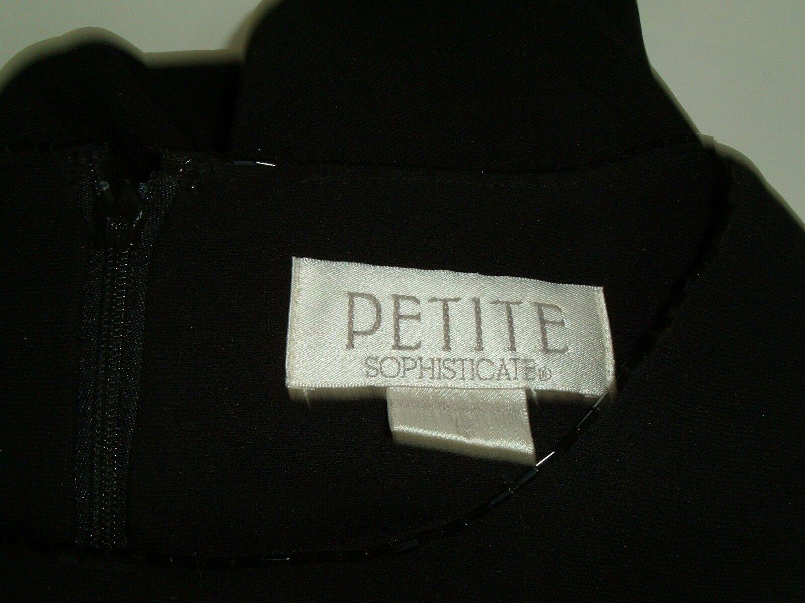 Women's Petite Sophisticate Black Shift Dress Sz 12 Vtg 90s LBD Beaded Neckline image 4