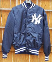 Vtg New York Yankees Satin Jacket-L-Blue-Quilt Lined-Pockets-80's-MLB-Ba... - $93.49
