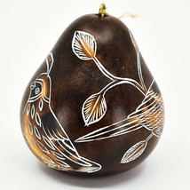 Handcrafted Carved Gourd North American Birds Cardinal Quail Ornament Made Peru image 2