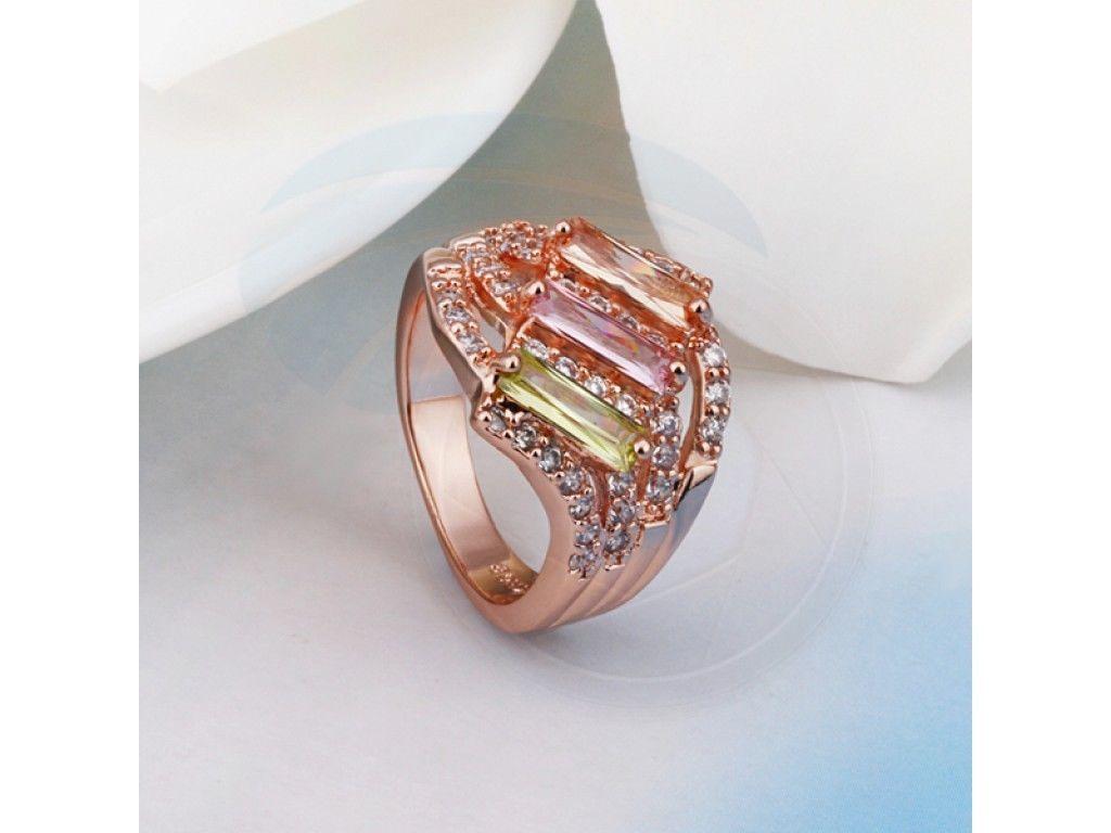 Size 8 Brass 18K Rose Gold Plated Zircon Crystal Lady Women Girls Ring