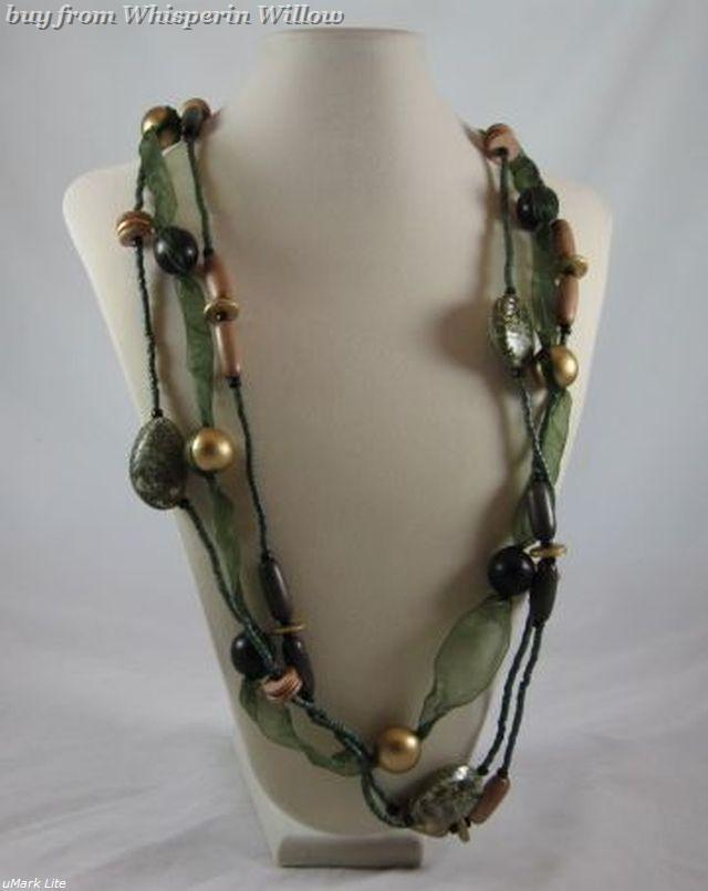 Primary image for 3 Strand Wood and Coco Shell Fashion Necklace
