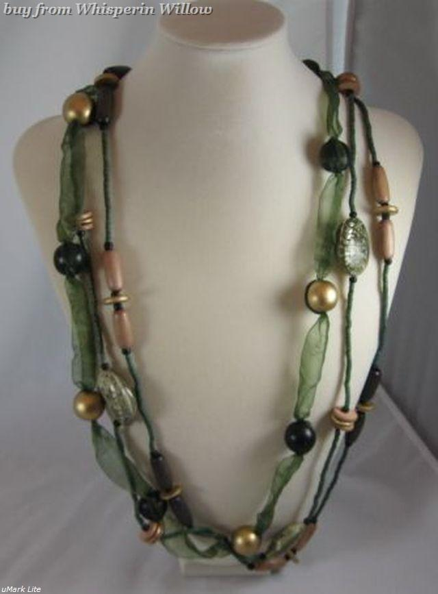 3 Strand Wood and Coco Shell Fashion Necklace