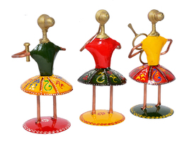 Set of 3 Multi Color Musician Lady Table Top Showpiece for Living Room Statue - $52.95