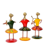 Set of 3 Multi Color Musician Lady Table Top Showpiece for Living Room S... - $52.95