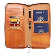 Gallaway Leather Travel Wallet Two Passports Holder Cover Documents Orga... - €27,68 EUR