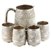 REPOUSSE SILVER WATER PITCHER & 4 CUPS - $2,138.40