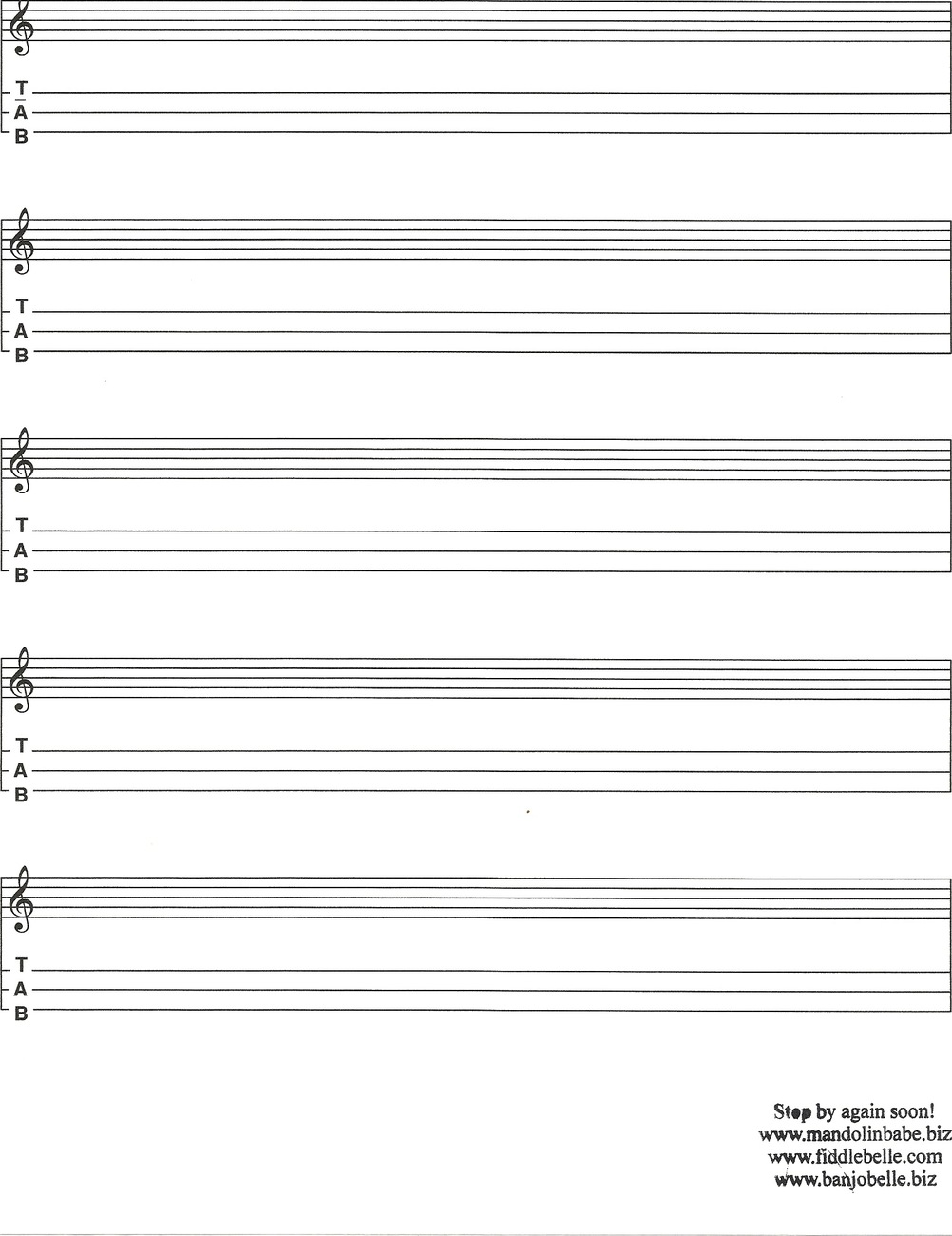 Blank Appalachian Dulcimer Tab Standard And 11 Similar Items