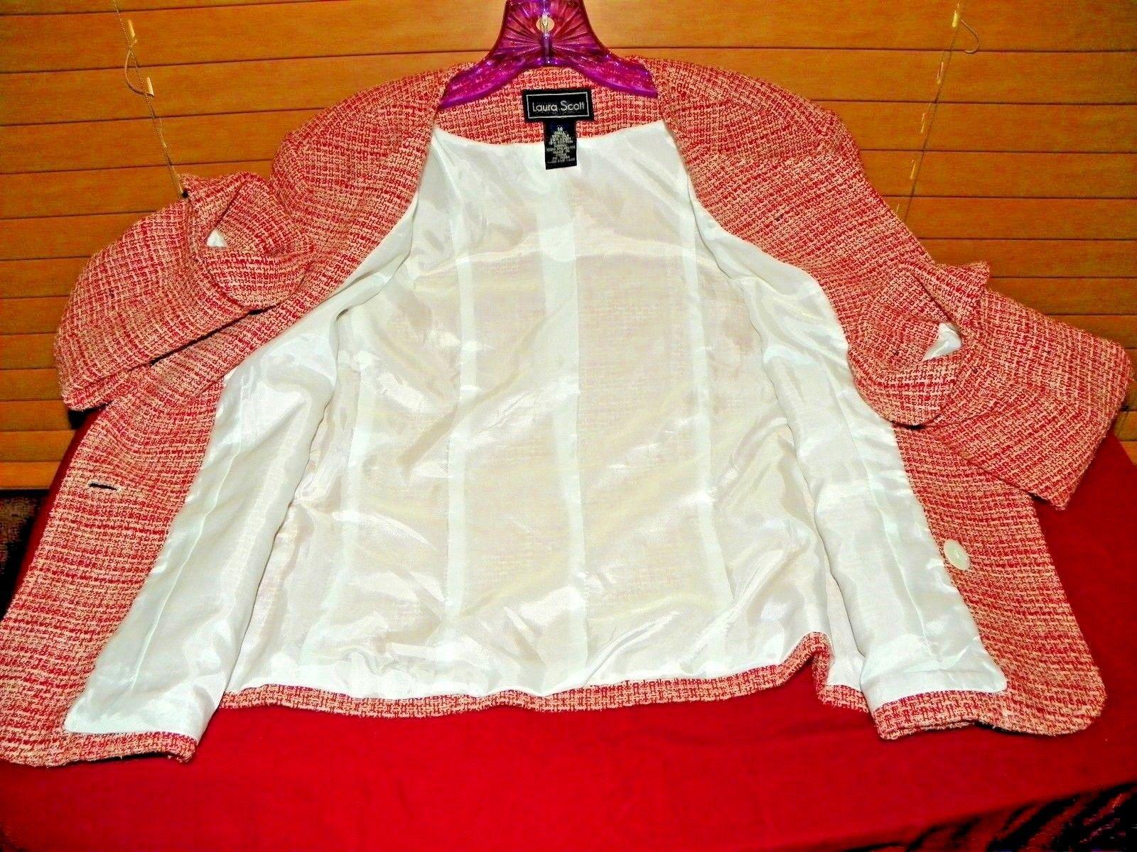 LAURA SCOTT SILK LINEN BLEND TWEED WOMEN'S SUIT JACKET RED WHITE SIZE 14 L@@K!!!