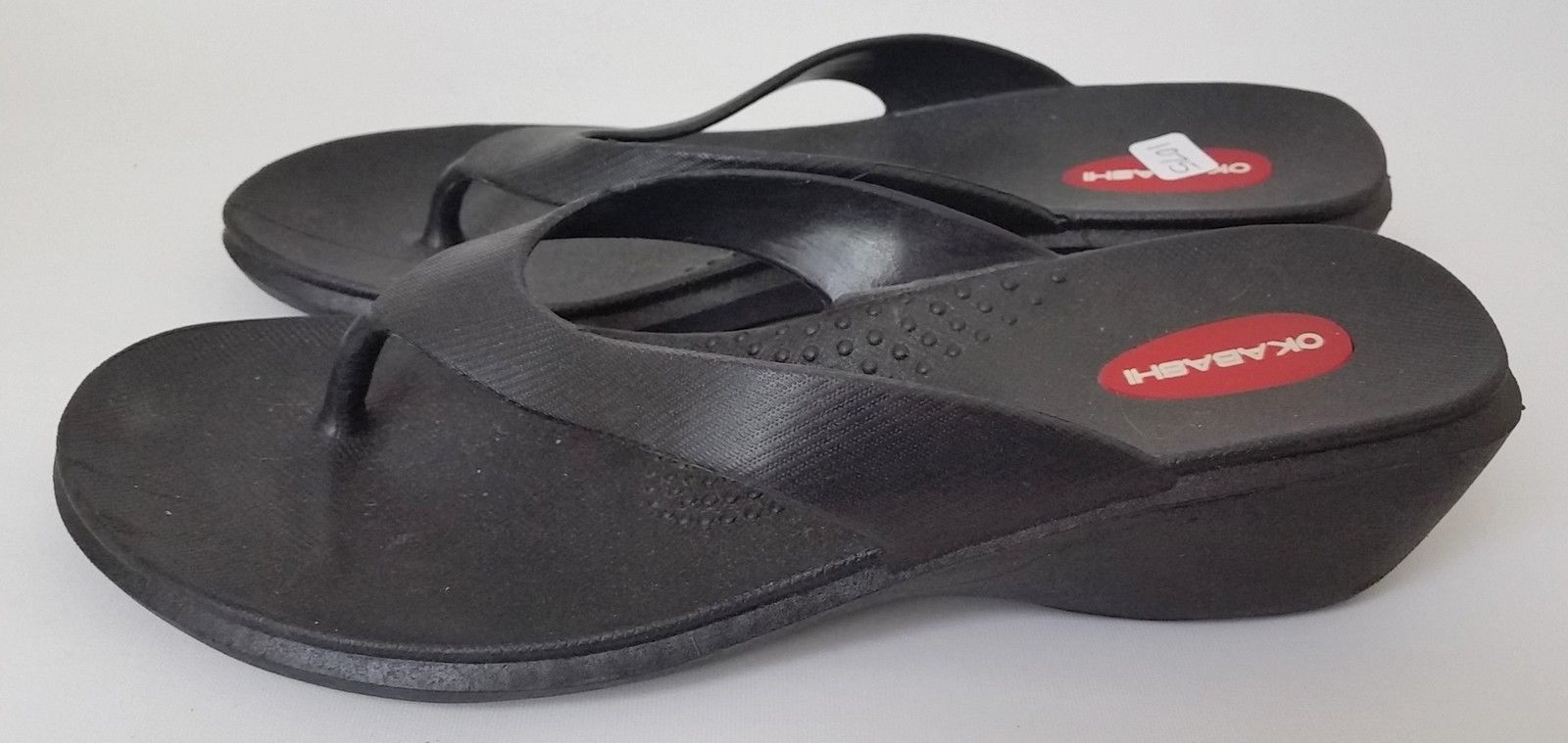 Okabashi Shoes Sandals Thong Wedge Black USA Womens Size M