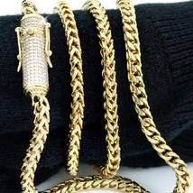 """Men Franco Link Chain 14k Gold Plated 4mm *1ct Diamond Clasp* 24"""" 26"""" & 28"""" - £28.40 GBP"""