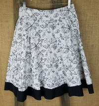 Twenty One womens size S flare skirt floral embroidery black white - $19.16