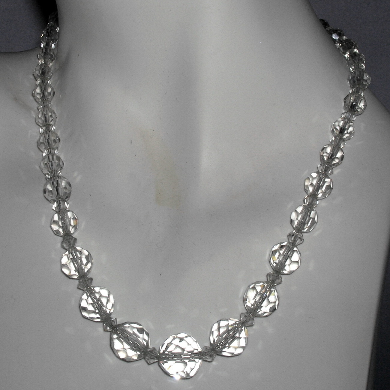 Beautiful Vintage Faceted Cut Crystal Chandelier Bead Necklace GF Chain 5-13 mm