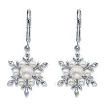 Simulated Pearl Silvertone Snowflake Drop Earrings - $36.57
