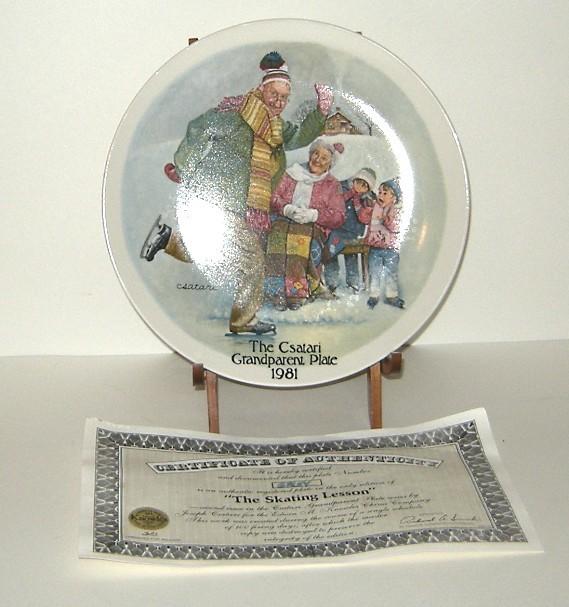 Csatari Grandparent Collector Plate 1981 Skating Lesson