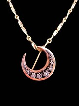 Antique Moon Necklace / diamond stars /  ROSE GOLD Brooch / georgian Pendant  - $950.00