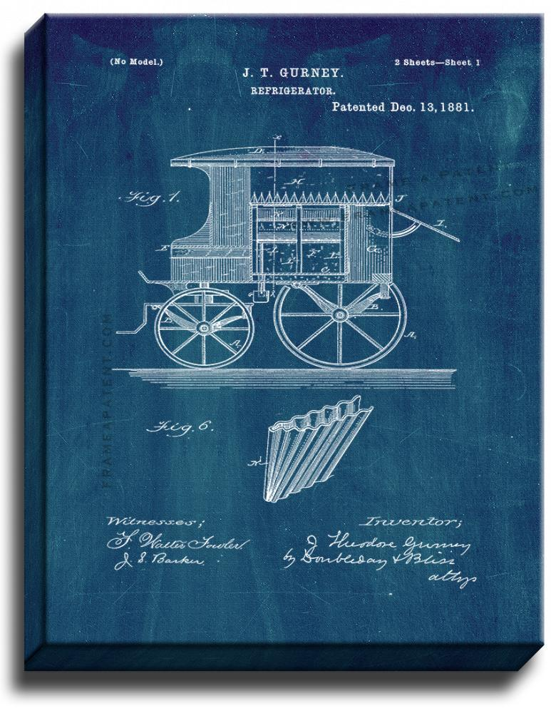 Primary image for Refrigerator Patent Print Midnight Blue on Canvas