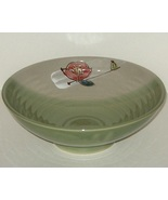 Green Hand Coiled Painted Ceramic Pottery Servi... - $13.00