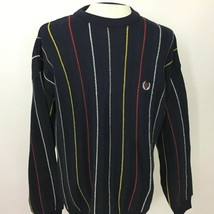 Ralph Lauren Chaps Mens Large Sweater Striped Cotton Crest - $32.67