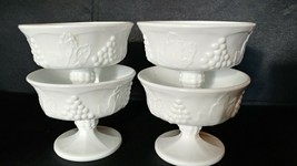 Set of 4 Vintage Colony Milk Glass Footed Sherbet Desert Cups - Grape Motif - $20.00