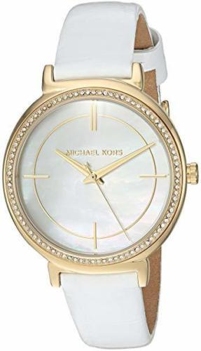 """NWOT Michael Kors MK2662 Women's """"Cinthia"""" White Leather Crystal Accent Watch  - $158.35"""