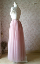 DUSTY PINK High Waisted Long Tutu Skirts Full Length Bridesmaid Tulle Skirts NWT image 7