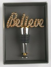 Thirstystone Blingy Believe Wine Bottle Top Stopper Silvertone Goldtone Accents image 2