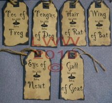 6 Handmade Halloween Potion Bottle Hanging Tag Labels - $8.99