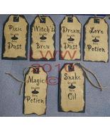 6 Handmade Halloween Potion Bottle Hanging Tag Labels - $8.99