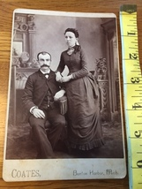 Cabinet Card Man & Wife Nicely Dressed Big Moustache & Curls Mich 1860-80! - $10.00