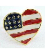 Vintage Gold Tone Enamel Patriotic Heart 4th of July Large Pin Brooch - $13.86