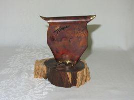 Metal Copper Patina Vtg Owl Figurine on Wood Slice Brutalist Rustic Art signed image 3