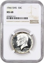 1966 50c NGC MS68 (Special Mint Set) Kennedy Half Dollar - $213.40