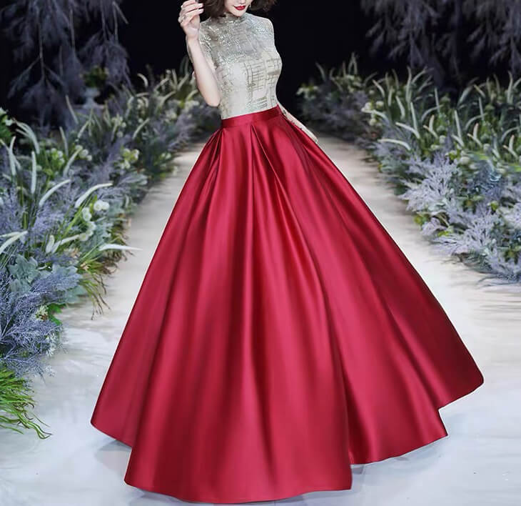 Pleated tafetta skirt winered