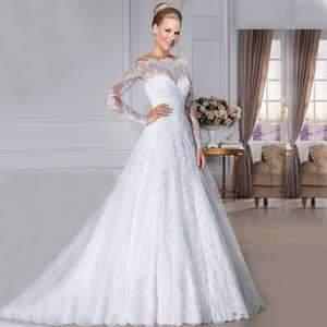 Ian s bridal 2018 boat neck long sleeve lady bridal dress slim a line back zipper.jpg 300x300q75