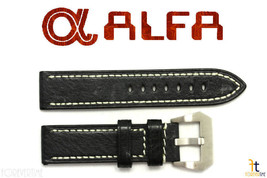 ALFA 24mm Black Genuine Textured Leather Watch Band Strap Anti-Allergic - $32.90
