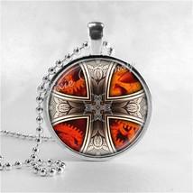 MALTESE CROSS Pendant Necklace Vintage Cross Jewelry, Glass Photo Art , ... - $11.95