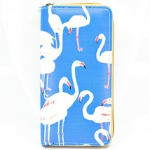 Bijorca Pink Flamingos on Blue Background Printed Vinyl Clutch Wallet image 1