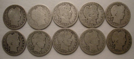 1893 -1912 US Barber Quarter Coins (10 Silver Coins) All Philadelphia Mint - $64.05