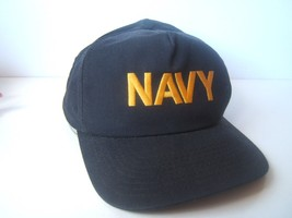 Navy Stained Dirty Grimy Work Prop Hat Dark Blue Snapback Baseball Cap M... - $15.36