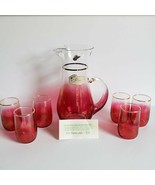 West Virginia Glass 7 Piece Juice Set #882 Rose Glow Strisik's 1950s Mid Century - $95.00