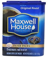 Maxwell House, Filter Packs, Original Roast, 10 Count, 5.3oz Container (... - $19.79