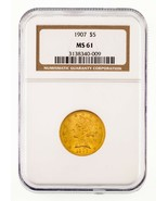 1907 $5 Gold Liberty Half Eagle Graded by NGC as MS-61! Gorgeous Coin! - £398.20 GBP
