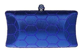 New Rhinestone Quilted Clutch Evening Bag Wedding Package--Blue