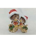 "Christmas Birds on Branch Figure Ceramic Santa Hats 3"" - $7.15"
