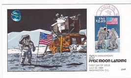 MOON LANDING $2.40 #2491 US FIRST DAY COVER LANDING NJ 7/20/1989 COLLINS... - ₹1,020.46 INR